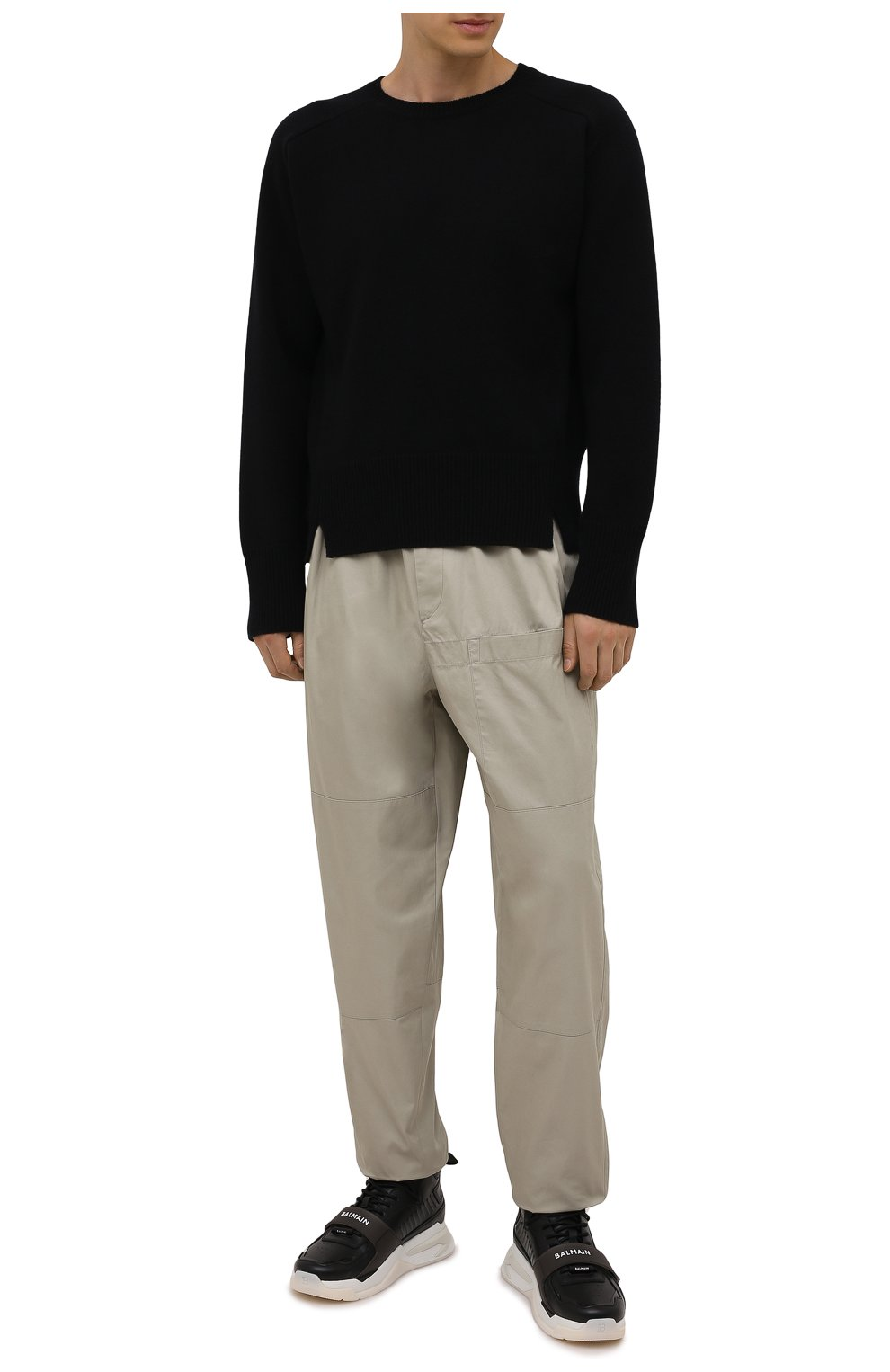Мужские кожаные кроссовки b-ball BALMAIN черного цвета, арт. WM1VG230/LCTW   Фото 2 (Материал внутренний: Натуральная кожа; Стили: Гранж; Подошва: Массивная)
