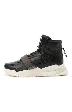 Мужские кожаные кроссовки b-ball BALMAIN черного цвета, арт. WM1VG230/LCTW   Фото 3 (Материал внутренний: Натуральная кожа; Стили: Гранж; Подошва: Массивная)