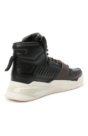 Мужские кожаные кроссовки b-ball BALMAIN черного цвета, арт. WM1VG230/LCTW   Фото 4 (Материал внутренний: Натуральная кожа; Стили: Гранж; Подошва: Массивная)