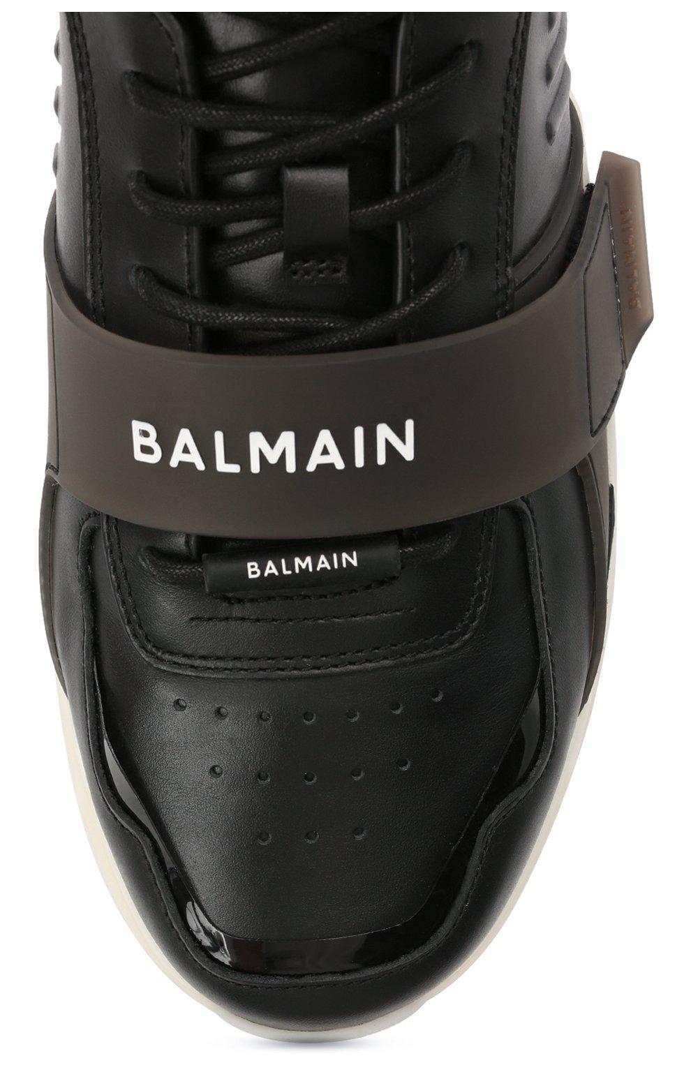 Мужские кожаные кроссовки b-ball BALMAIN черного цвета, арт. WM1VG230/LCTW   Фото 5 (Материал внутренний: Натуральная кожа; Стили: Гранж; Подошва: Массивная)