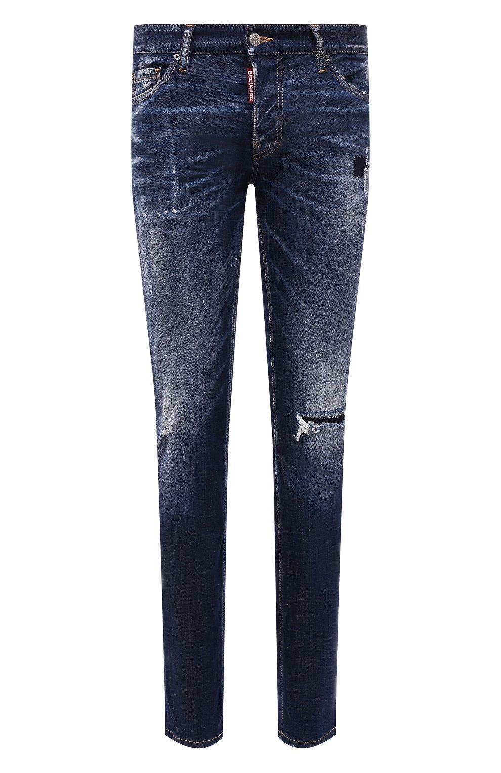 Мужские джинсы DSQUARED2 синего цвета, арт. S71LB0938/S30342 | Фото 1 (Силуэт М (брюки): Прямые; Кросс-КТ: Деним; Длина (брюки, джинсы): Стандартные; Стили: Гранж; Материал внешний: Хлопок; Детали: Потертости)