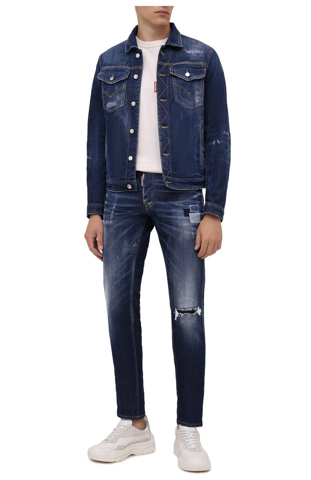 Мужские джинсы DSQUARED2 синего цвета, арт. S71LB0938/S30342 | Фото 2 (Силуэт М (брюки): Прямые; Кросс-КТ: Деним; Длина (брюки, джинсы): Стандартные; Стили: Гранж; Материал внешний: Хлопок; Детали: Потертости)