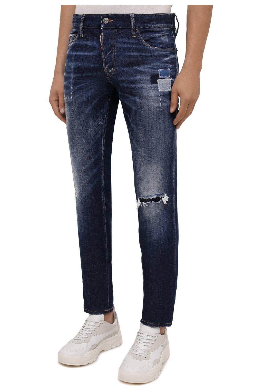 Мужские джинсы DSQUARED2 синего цвета, арт. S71LB0938/S30342 | Фото 3 (Силуэт М (брюки): Прямые; Кросс-КТ: Деним; Длина (брюки, джинсы): Стандартные; Стили: Гранж; Материал внешний: Хлопок; Детали: Потертости)