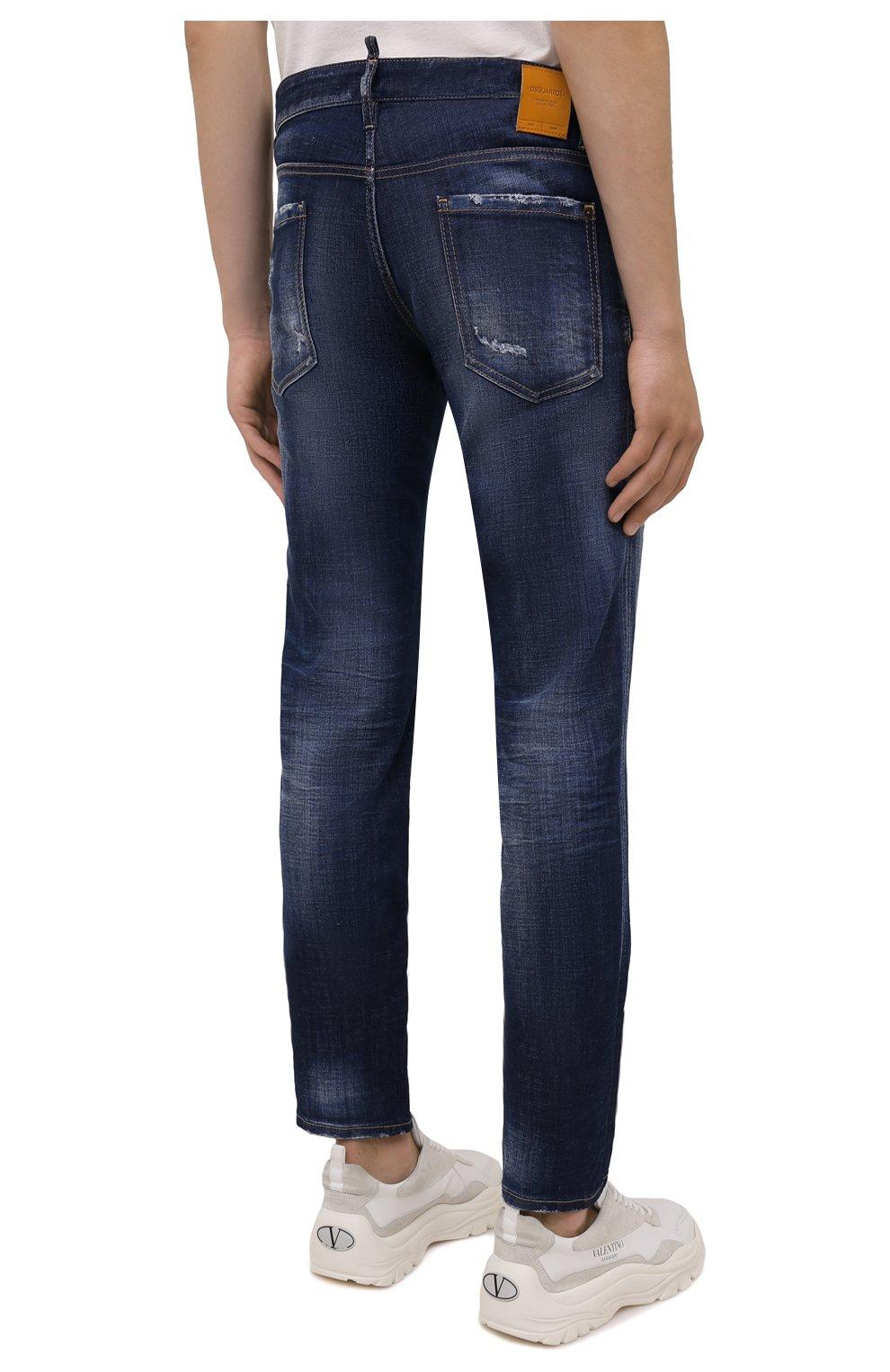 Мужские джинсы DSQUARED2 синего цвета, арт. S71LB0938/S30342 | Фото 4 (Силуэт М (брюки): Прямые; Кросс-КТ: Деним; Длина (брюки, джинсы): Стандартные; Стили: Гранж; Материал внешний: Хлопок; Детали: Потертости)