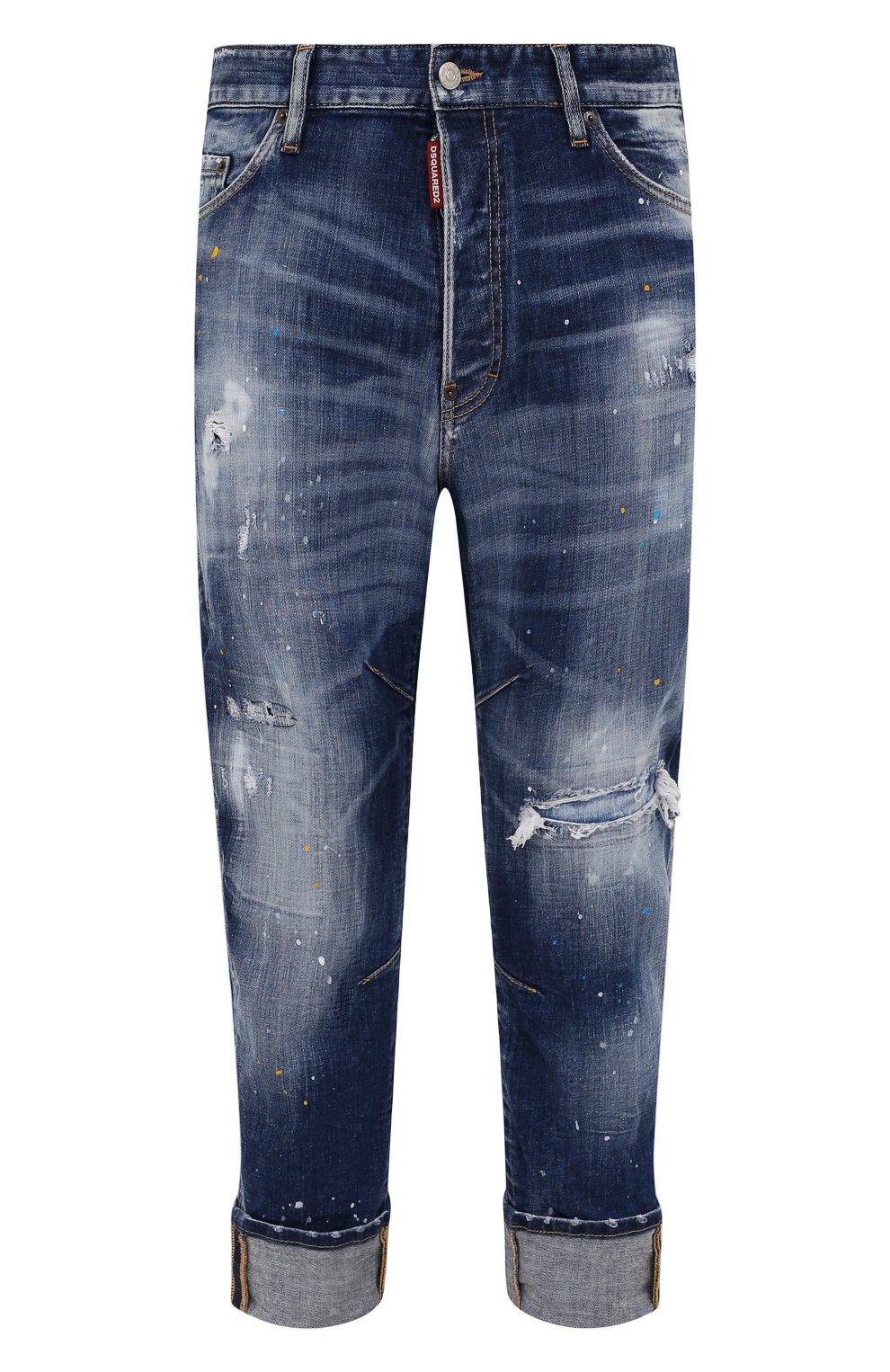 Мужские джинсы DSQUARED2 синего цвета, арт. S74LB0958/S30342   Фото 1 (Силуэт М (брюки): Прямые; Кросс-КТ: Деним; Стили: Гранж; Материал внешний: Хлопок; Детали: Потертости; Длина (брюки, джинсы): Укороченные)