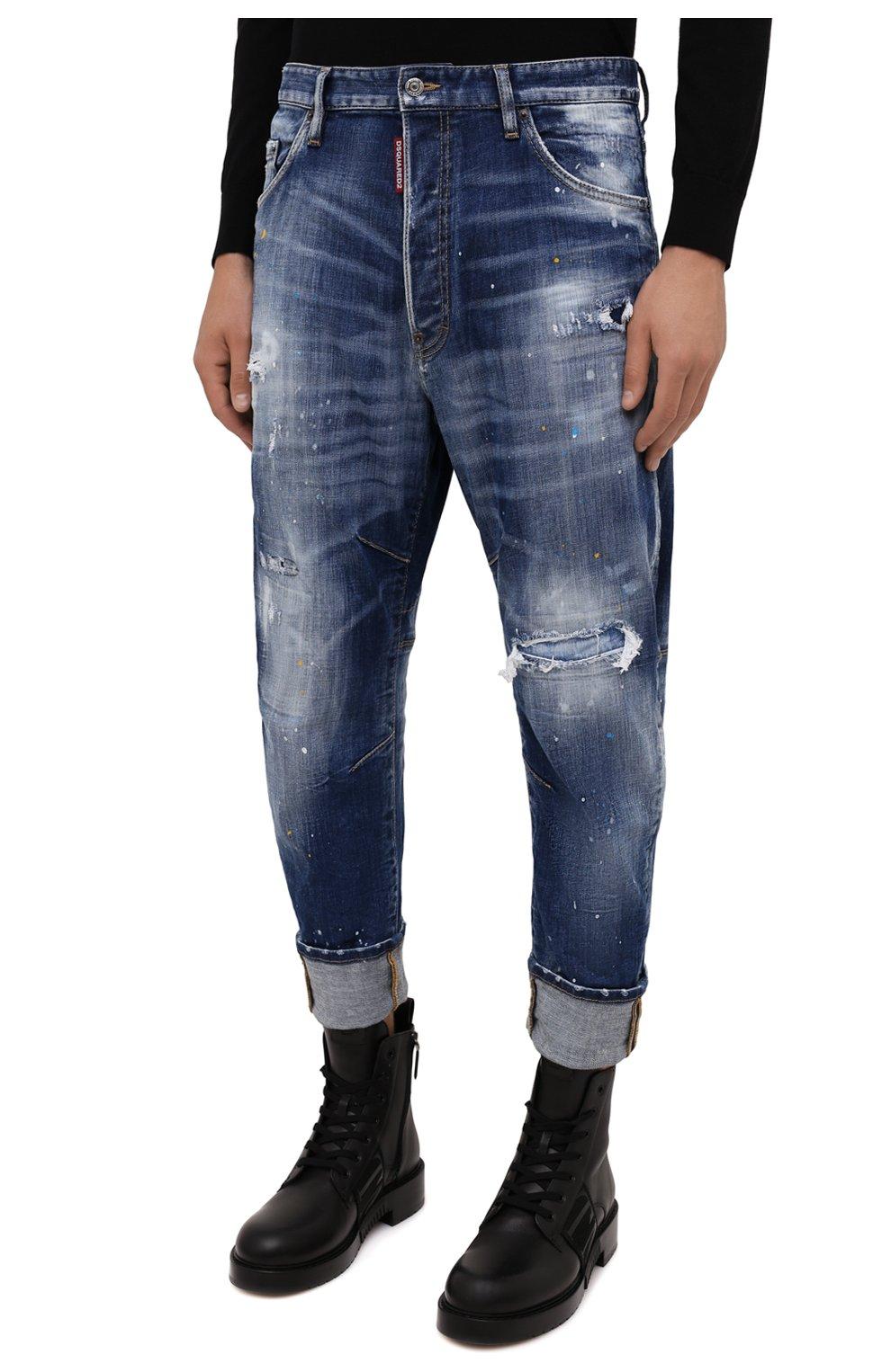 Мужские джинсы DSQUARED2 синего цвета, арт. S74LB0958/S30342   Фото 3 (Силуэт М (брюки): Прямые; Кросс-КТ: Деним; Стили: Гранж; Материал внешний: Хлопок; Детали: Потертости; Длина (брюки, джинсы): Укороченные)