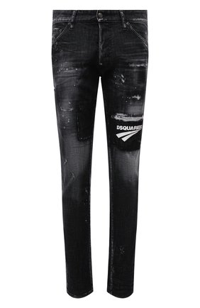 Мужские джинсы DSQUARED2 темно-серого цвета, арт. S74LB0983/S30357 | Фото 1 (Длина (брюки, джинсы): Стандартные; Материал внешний: Хлопок; Кросс-КТ: Деним; Детали: Потертости; Силуэт М (брюки): Узкие; Стили: Гранж)