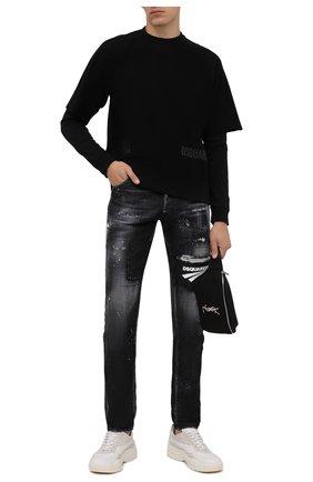 Мужские джинсы DSQUARED2 темно-серого цвета, арт. S74LB0983/S30357 | Фото 2 (Длина (брюки, джинсы): Стандартные; Материал внешний: Хлопок; Кросс-КТ: Деним; Детали: Потертости; Силуэт М (брюки): Узкие; Стили: Гранж)
