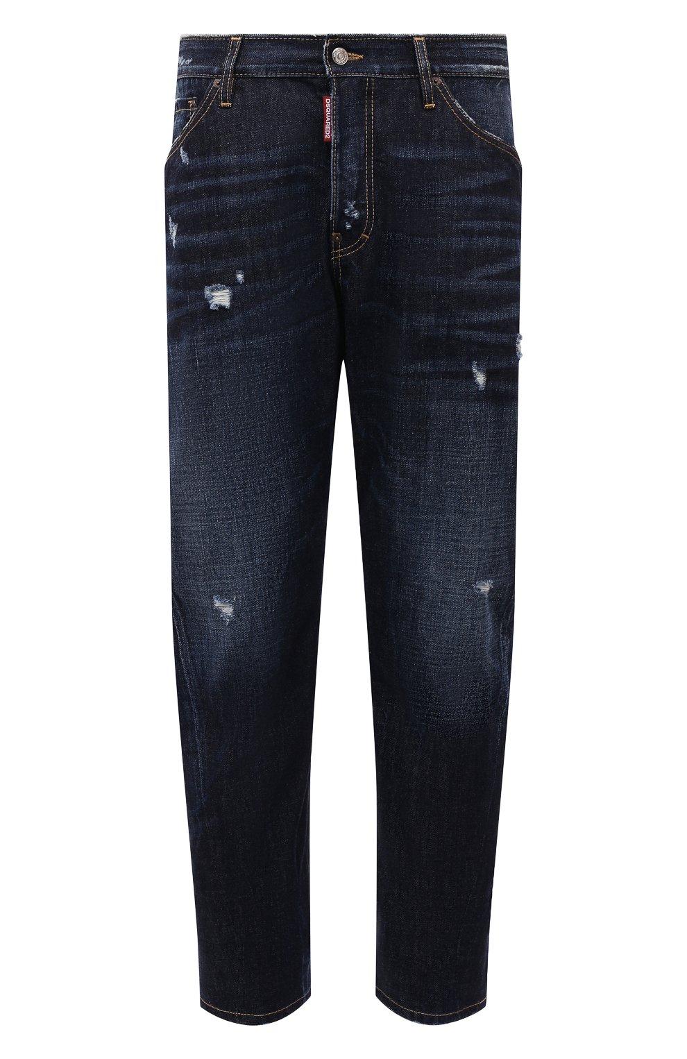 Мужские джинсы DSQUARED2 темно-синего цвета, арт. S74LB1007/S30214 | Фото 1 (Силуэт М (брюки): Широкие; Кросс-КТ: Деним; Длина (брюки, джинсы): Стандартные; Стили: Гранж; Материал внешний: Хлопок; Детали: Потертости)