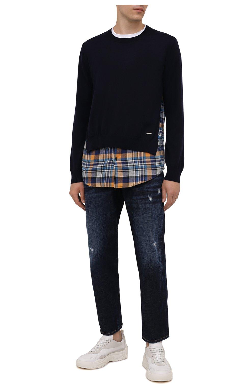 Мужские джинсы DSQUARED2 темно-синего цвета, арт. S74LB1007/S30214 | Фото 2 (Силуэт М (брюки): Широкие; Кросс-КТ: Деним; Длина (брюки, джинсы): Стандартные; Стили: Гранж; Материал внешний: Хлопок; Детали: Потертости)