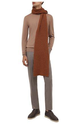 Мужской кашемировый шарф INVERNI светло-коричневого цвета, арт. 5003 SM   Фото 2 (Материал: Кашемир, Шерсть; Кросс-КТ: кашемир)
