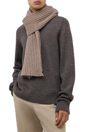 Мужской кашемировый шарф INVERNI темно-бежевого цвета, арт. 5003 SM   Фото 2 (Материал: Шерсть, Кашемир; Кросс-КТ: кашемир)