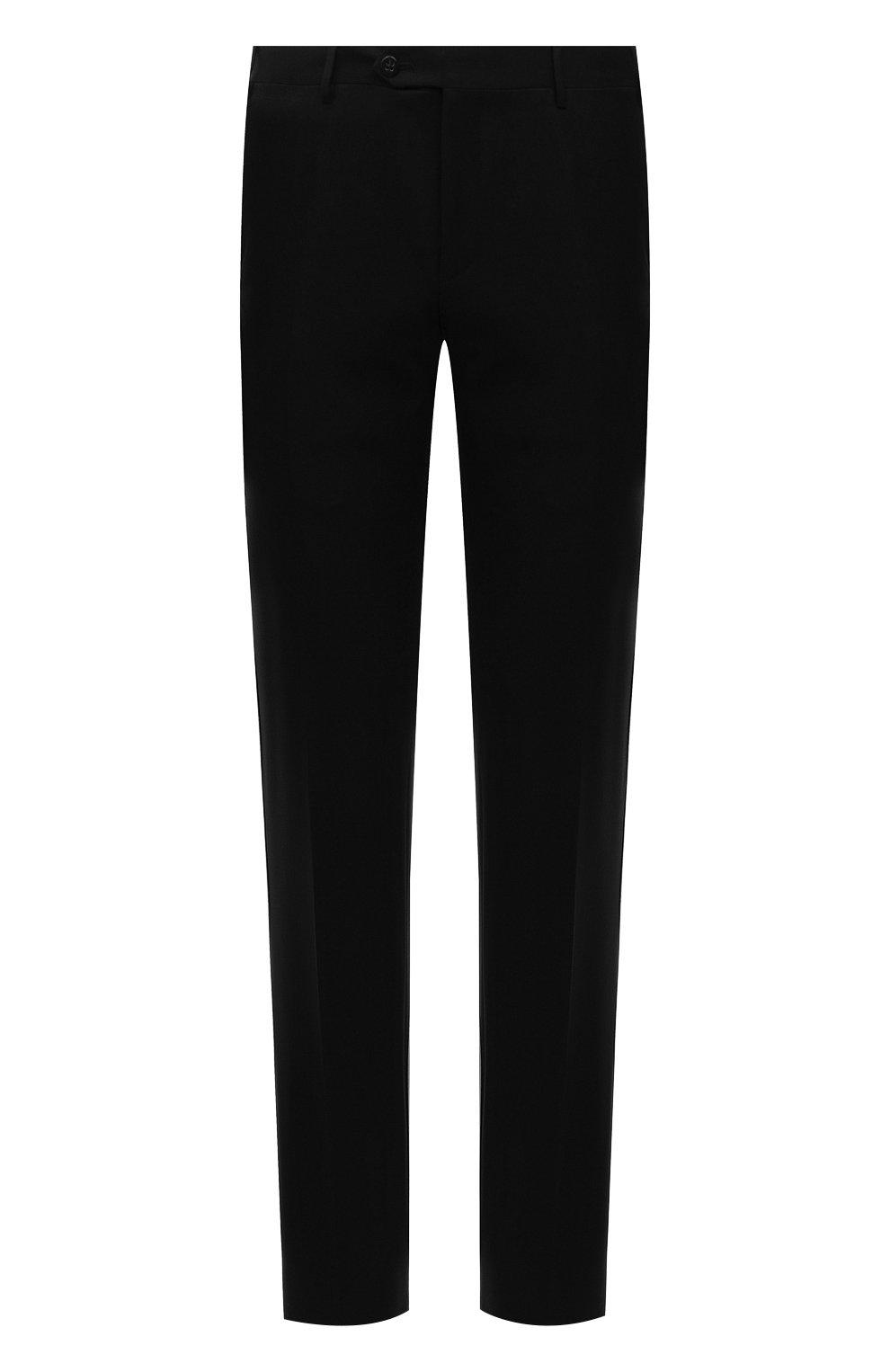 Мужские шерстяные брюки CORNELIANI черного цвета, арт. 885B01-1818111/02   Фото 1 (Материал внешний: Шерсть; Длина (брюки, джинсы): Стандартные; Стили: Классический; Случай: Формальный; Материал подклада: Вискоза)