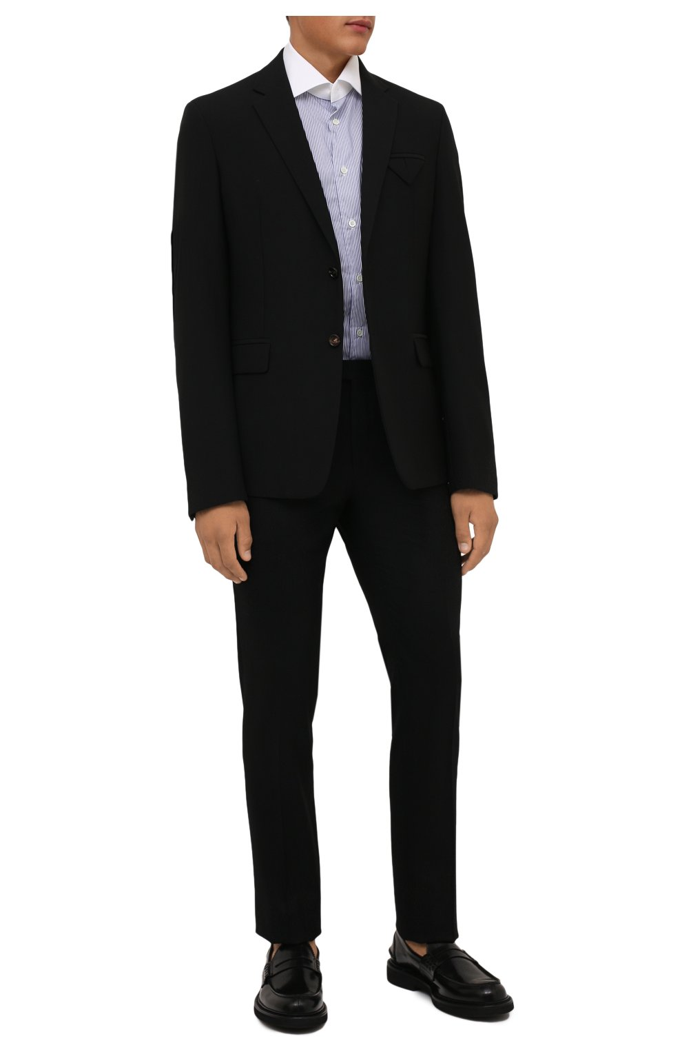 Мужские шерстяные брюки CORNELIANI черного цвета, арт. 885B01-1818111/02   Фото 2 (Материал внешний: Шерсть; Длина (брюки, джинсы): Стандартные; Стили: Классический; Случай: Формальный; Материал подклада: Вискоза)