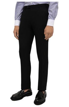 Мужские шерстяные брюки CORNELIANI черного цвета, арт. 885B01-1818111/02   Фото 3 (Материал внешний: Шерсть; Длина (брюки, джинсы): Стандартные; Стили: Классический; Случай: Формальный; Материал подклада: Вискоза)