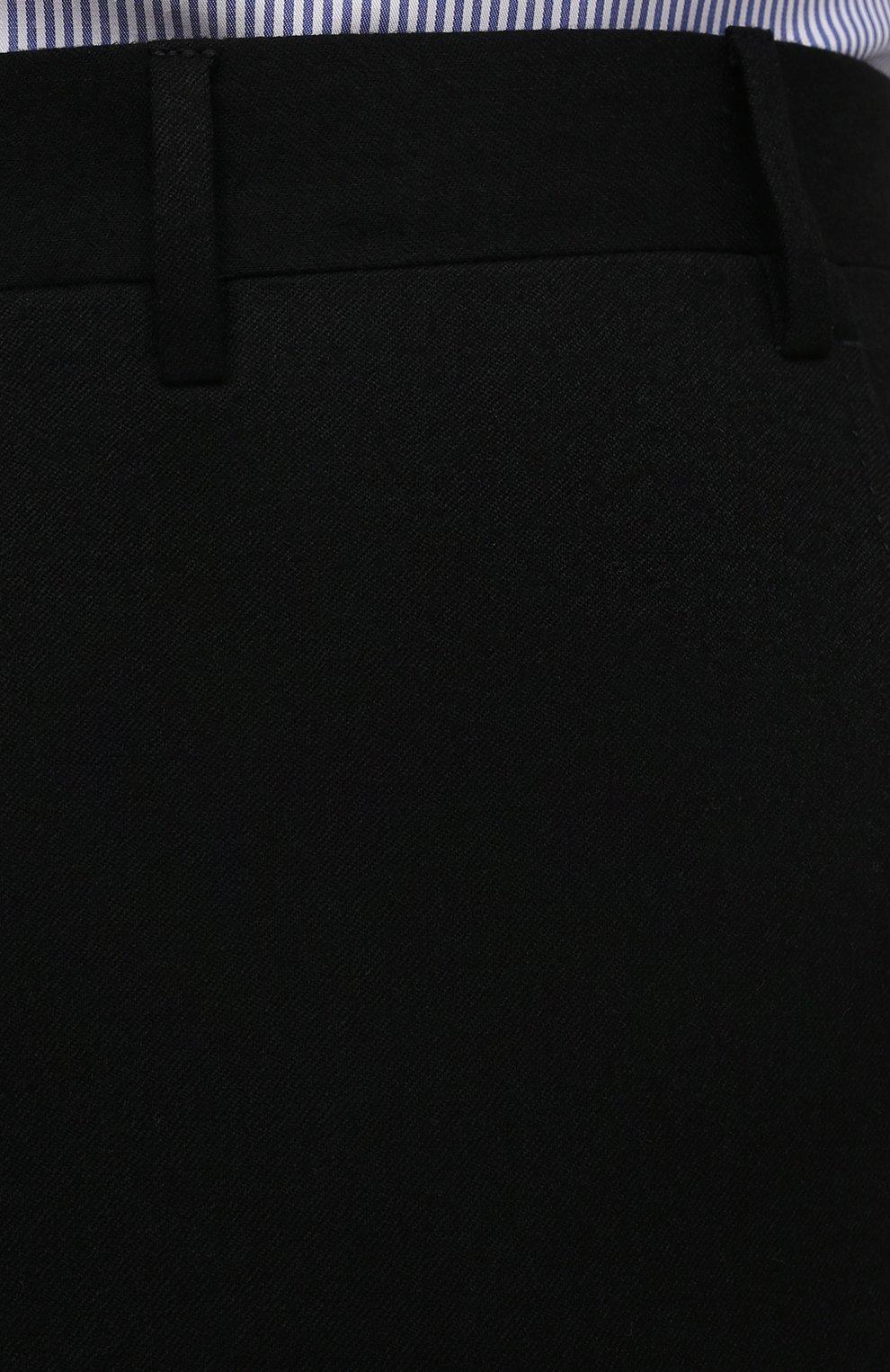 Мужские шерстяные брюки CORNELIANI черного цвета, арт. 885B01-1818111/02   Фото 5 (Материал внешний: Шерсть; Длина (брюки, джинсы): Стандартные; Стили: Классический; Случай: Формальный; Материал подклада: Вискоза)