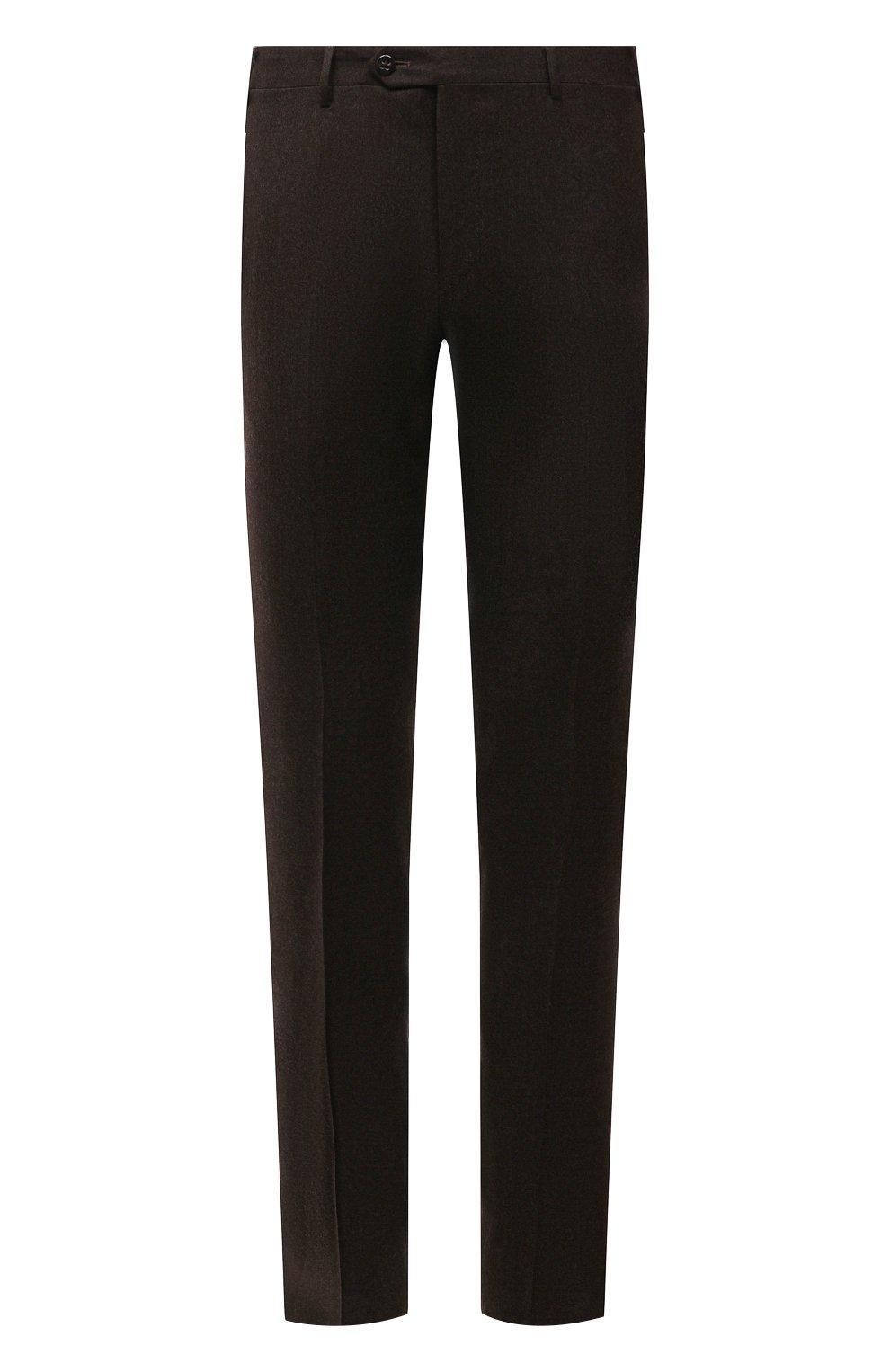 Мужские шерстяные брюки CORNELIANI коричневого цвета, арт. 885B01-1818111/02   Фото 1 (Материал внешний: Шерсть; Длина (брюки, джинсы): Стандартные; Случай: Формальный; Материал подклада: Вискоза; Стили: Кэжуэл)