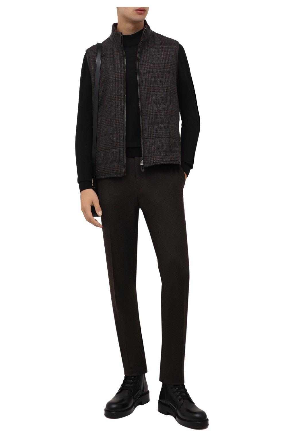 Мужские шерстяные брюки CORNELIANI коричневого цвета, арт. 885B01-1818111/02   Фото 2 (Материал внешний: Шерсть; Длина (брюки, джинсы): Стандартные; Случай: Формальный; Материал подклада: Вискоза; Стили: Кэжуэл)
