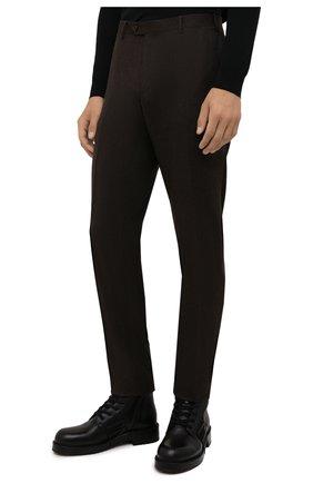 Мужские шерстяные брюки CORNELIANI коричневого цвета, арт. 885B01-1818111/02   Фото 3 (Материал внешний: Шерсть; Длина (брюки, джинсы): Стандартные; Случай: Формальный; Материал подклада: Вискоза; Стили: Кэжуэл)