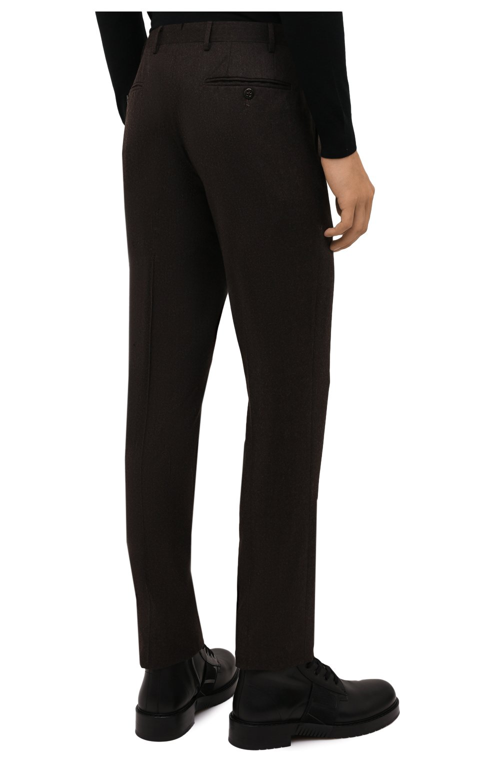Мужские шерстяные брюки CORNELIANI коричневого цвета, арт. 885B01-1818111/02   Фото 4 (Материал внешний: Шерсть; Длина (брюки, джинсы): Стандартные; Случай: Формальный; Материал подклада: Вискоза; Стили: Кэжуэл)