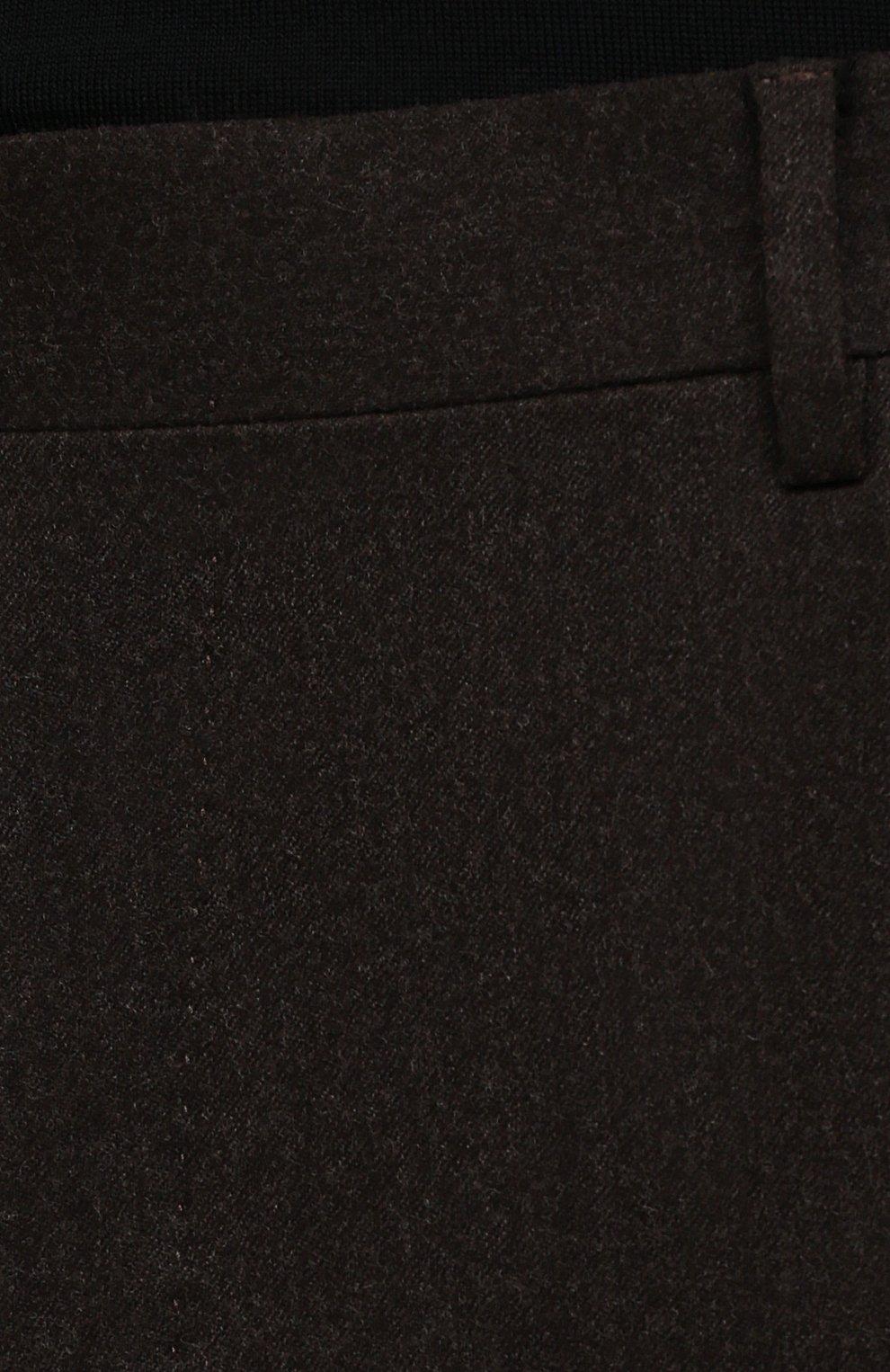 Мужские шерстяные брюки CORNELIANI коричневого цвета, арт. 885B01-1818111/02   Фото 5 (Материал внешний: Шерсть; Длина (брюки, джинсы): Стандартные; Случай: Формальный; Материал подклада: Вискоза; Стили: Кэжуэл)