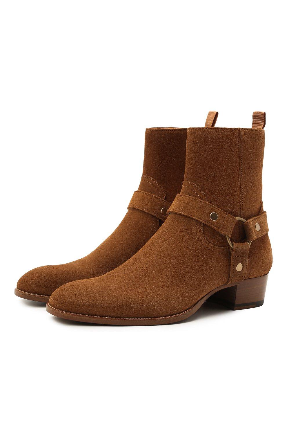 Мужские замшевые сапоги wyatt SAINT LAURENT светло-коричневого цвета, арт. 443190/BPN00 | Фото 1 (Материал внутренний: Натуральная кожа; Мужское Кросс-КТ: Казаки-обувь, Сапоги-обувь; Подошва: Плоская; Материал внешний: Замша)
