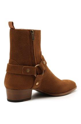 Мужские замшевые сапоги wyatt SAINT LAURENT светло-коричневого цвета, арт. 443190/BPN00 | Фото 4 (Материал внутренний: Натуральная кожа; Мужское Кросс-КТ: Казаки-обувь, Сапоги-обувь; Подошва: Плоская; Материал внешний: Замша)