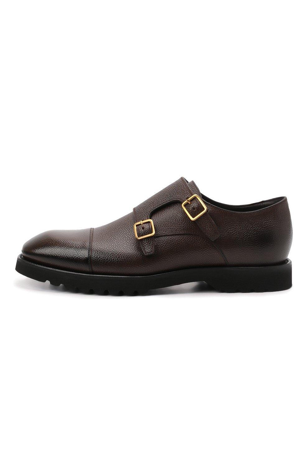 Мужские кожаные монки TOM FORD темно-коричневого цвета, арт. J1245L-LCL093   Фото 3 (Материал внутренний: Натуральная кожа; Стили: Классический)