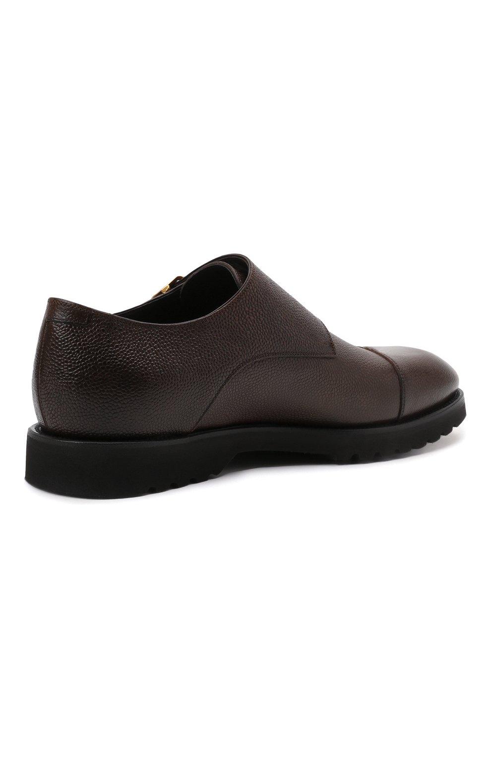 Мужские кожаные монки TOM FORD темно-коричневого цвета, арт. J1245L-LCL093   Фото 4 (Материал внутренний: Натуральная кожа; Стили: Классический)