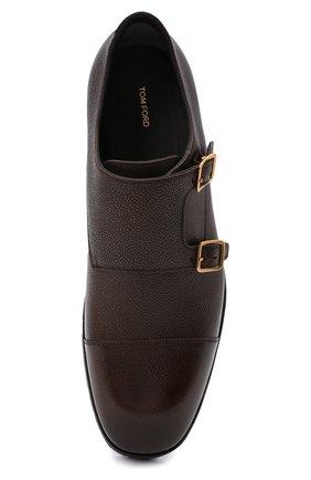 Мужские кожаные монки TOM FORD темно-коричневого цвета, арт. J1245L-LCL093   Фото 5 (Материал внутренний: Натуральная кожа; Стили: Классический)