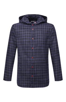 Мужская рубашка из шерсти и шелка KITON синего цвета, арт. UMCPETEK0157A02 | Фото 1