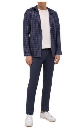Мужская рубашка из шерсти и шелка KITON синего цвета, арт. UMCPETEK0157A02 | Фото 2