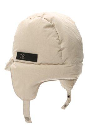 Детского утепленная шапка-ушанка IL GUFO серого цвета, арт. A21E0219N0072 | Фото 2 (Материал: Текстиль, Синтетический материал)