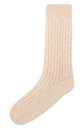 Детские кашемировые носки BRUNELLO CUCINELLI бежевого цвета, арт. BBJM51299A   Фото 1 (Материал: Шерсть, Кашемир)