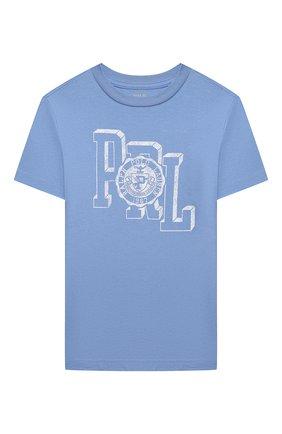 Детская хлопковая футболка POLO RALPH LAUREN голубого цвета, арт. 321850990   Фото 1 (Материал внешний: Хлопок; Рукава: Короткие; Ростовка одежда: 18 мес   86 см, 3 года   98 см, 4 года   104 см)