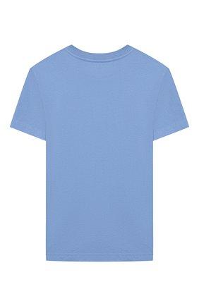 Детская хлопковая футболка POLO RALPH LAUREN голубого цвета, арт. 321850990   Фото 2 (Материал внешний: Хлопок; Рукава: Короткие; Ростовка одежда: 18 мес   86 см, 3 года   98 см, 4 года   104 см)