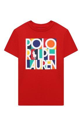 Детская хлопковая футболка POLO RALPH LAUREN красного цвета, арт. 321844820 | Фото 1