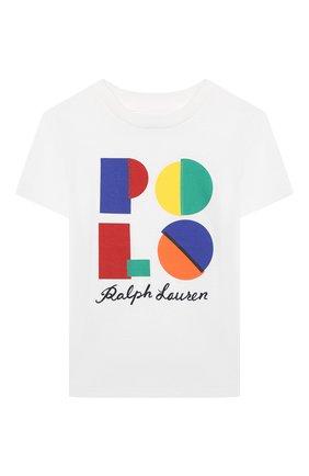 Детская хлопковая футболка POLO RALPH LAUREN белого цвета, арт. 321844818 | Фото 1