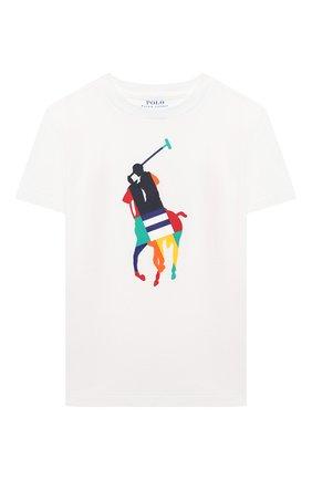 Детская хлопковая футболка POLO RALPH LAUREN белого цвета, арт. 321844817 | Фото 1
