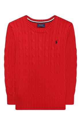 Детский хлопковый пуловер POLO RALPH LAUREN красного цвета, арт. 321702674 | Фото 1 (Материал внешний: Хлопок; Мальчики Кросс-КТ: Пуловер-одежда; Рукава: Длинные; Ростовка одежда: 3 года | 98 см, 4 года | 104 см)