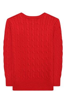 Детский хлопковый пуловер POLO RALPH LAUREN красного цвета, арт. 321702674 | Фото 2 (Материал внешний: Хлопок; Мальчики Кросс-КТ: Пуловер-одежда; Рукава: Длинные; Ростовка одежда: 3 года | 98 см, 4 года | 104 см)
