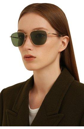 Женские солнцезащитные очки LORO PIANA зеленого цвета, арт. FAL0302 | Фото 2 (Тип очков: С/з; Очки форма: Авиаторы; Оптика Гендер: оптика-мужское)
