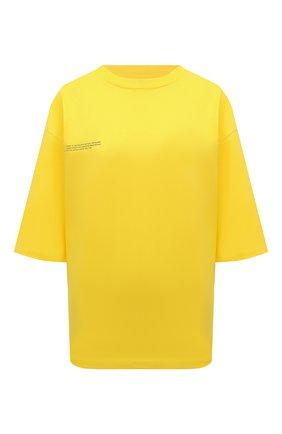Мужского хлопковая футболка PANGAIA желтого цвета, арт. 20JTM10-014-JM001 | Фото 1 (Стили: Спорт-шик; Женское Кросс-КТ: Футболка-спорт, Футболка-одежда; Рукава: Короткие)