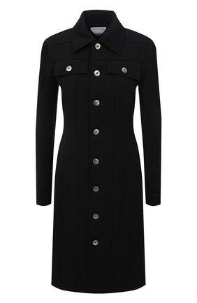 Женское шерстяное платье BOTTEGA VENETA черного цвета, арт. 665194/V0IV0   Фото 1 (Длина Ж (юбки, платья, шорты): До колена; Материал подклада: Хлопок; Материал внешний: Шерсть; Рукава: Длинные; Стили: Гламурный; Случай: Повседневный; Женское Кросс-КТ: Платье-одежда)