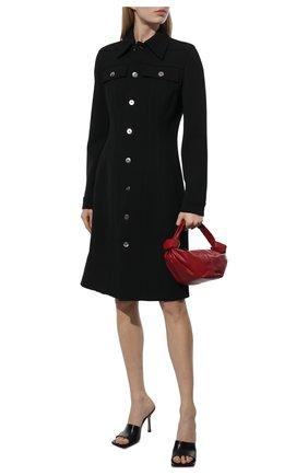 Женское шерстяное платье BOTTEGA VENETA черного цвета, арт. 665194/V0IV0   Фото 2 (Длина Ж (юбки, платья, шорты): До колена; Материал подклада: Хлопок; Материал внешний: Шерсть; Рукава: Длинные; Стили: Гламурный; Случай: Повседневный; Женское Кросс-КТ: Платье-одежда)