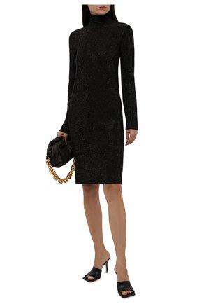Женское платье из вискозы BOTTEGA VENETA темно-коричневого цвета, арт. 665916/V0ZG0   Фото 2 (Материал внешний: Вискоза; Стили: Гламурный; Случай: Повседневный; Женское Кросс-КТ: Платье-одежда; Рукава: Длинные; Длина Ж (юбки, платья, шорты): Мини, До колена; Кросс-КТ: Трикотаж)