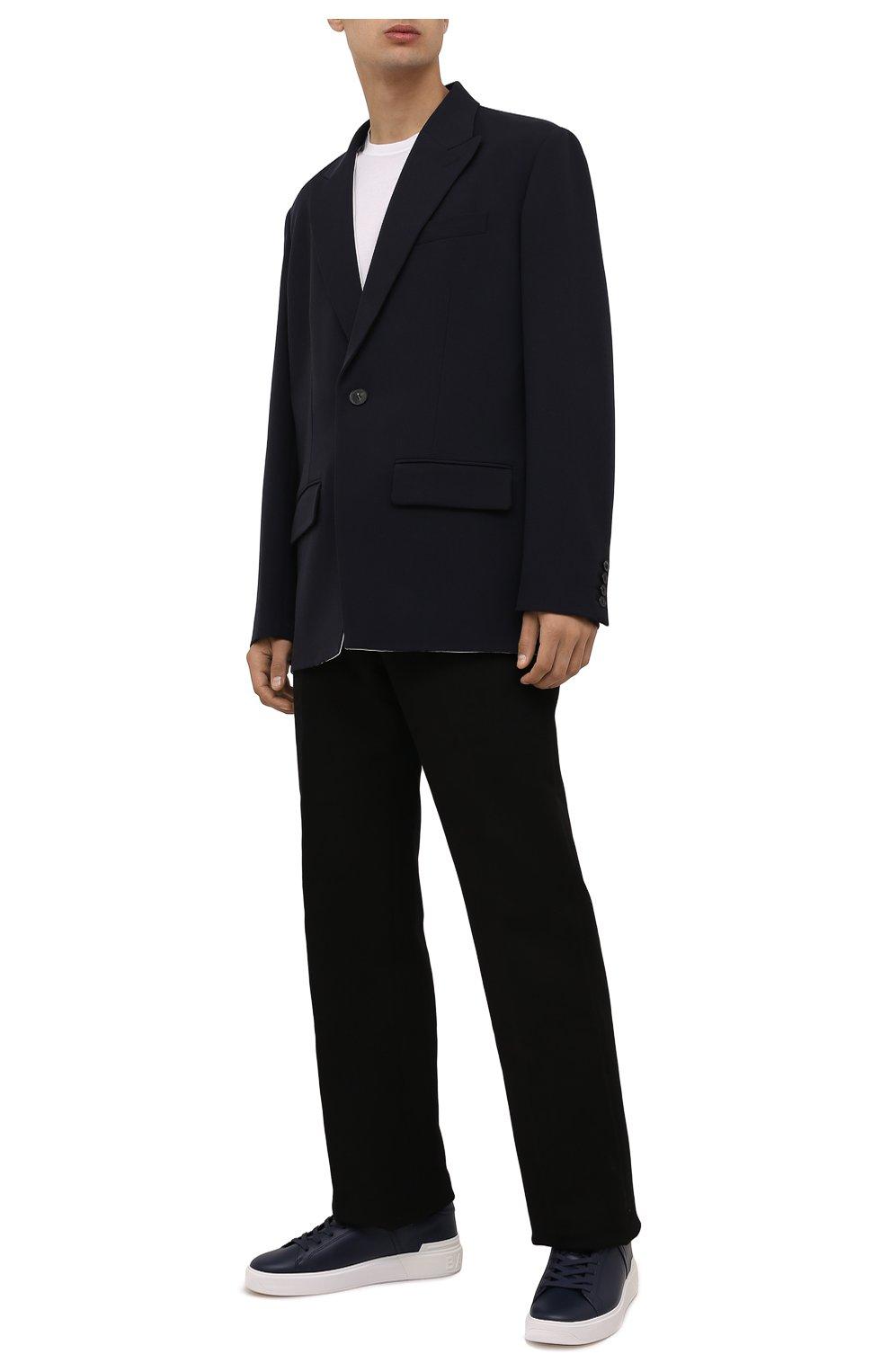 Мужские кожаные кеды b-court BALMAIN темно-синего цвета, арт. WM1VI244/LASC   Фото 2 (Материал внутренний: Натуральная кожа; Подошва: Массивная)