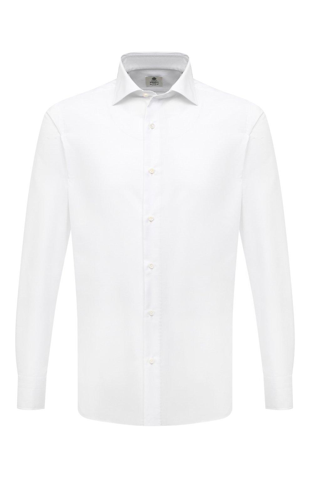 Мужская хлопковая сорочка LUIGI BORRELLI белого цвета, арт. PS30060/LUCIAN0/ST/EV/PC | Фото 1 (Манжеты: На пуговицах; Рукава: Длинные; Воротник: Акула; Длина (для топов): Стандартные; Рубашки М: Slim Fit; Материал внешний: Хлопок; Стили: Классический; Случай: Формальный; Принт: Однотонные)