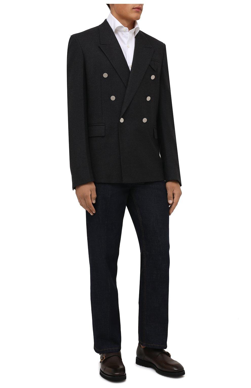 Мужская хлопковая сорочка LUIGI BORRELLI белого цвета, арт. PS30060/LUCIAN0/ST/EV/PC | Фото 2 (Манжеты: На пуговицах; Рукава: Длинные; Воротник: Акула; Длина (для топов): Стандартные; Рубашки М: Slim Fit; Материал внешний: Хлопок; Стили: Классический; Случай: Формальный; Принт: Однотонные)