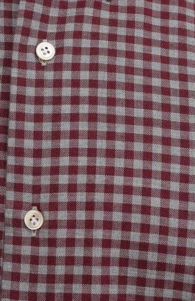 Мужская хлопковая рубашка LUIGI BORRELLI бордового цвета, арт. SR1171/RALPH/BD/EV/PC | Фото 5 (Манжеты: На пуговицах; Воротник: Button down; Принт: Клетка; Рукава: Длинные; Случай: Повседневный; Длина (для топов): Стандартные; Рубашки М: Slim Fit; Материал внешний: Хлопок; Стили: Кэжуэл)